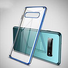 Silikon Schutzhülle Ultra Dünn Tasche Durchsichtig Transparent S02 für Samsung Galaxy S10 Plus Blau
