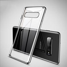 Silikon Schutzhülle Ultra Dünn Tasche Durchsichtig Transparent S02 für Samsung Galaxy S10 Silber