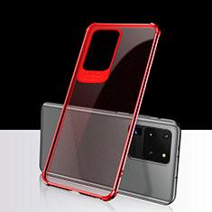 Silikon Schutzhülle Ultra Dünn Tasche Durchsichtig Transparent S02 für Samsung Galaxy S20 Ultra 5G Rot