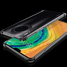 Silikon Schutzhülle Ultra Dünn Tasche Durchsichtig Transparent S03 für Huawei Mate 30 Pro 5G Schwarz