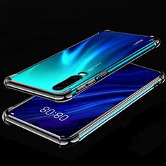 Silikon Schutzhülle Ultra Dünn Tasche Durchsichtig Transparent S03 für Huawei P30 Schwarz