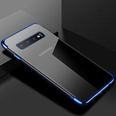 Silikon Schutzhülle Ultra Dünn Tasche Durchsichtig Transparent S03 für Samsung Galaxy S10 Blau