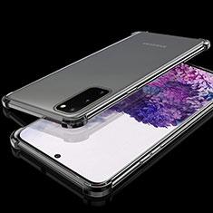 Silikon Schutzhülle Ultra Dünn Tasche Durchsichtig Transparent S03 für Samsung Galaxy S20 5G Schwarz
