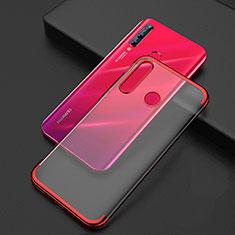 Silikon Schutzhülle Ultra Dünn Tasche Durchsichtig Transparent S04 für Huawei Honor 20 Lite Rot