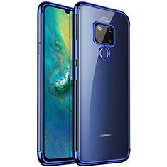 Silikon Schutzhülle Ultra Dünn Tasche Durchsichtig Transparent S04 für Huawei Mate 20 Blau