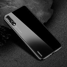 Silikon Schutzhülle Ultra Dünn Tasche Durchsichtig Transparent S04 für Huawei P20 Pro Schwarz