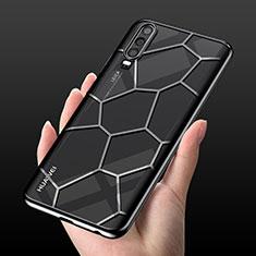 Silikon Schutzhülle Ultra Dünn Tasche Durchsichtig Transparent S04 für Huawei P30 Schwarz