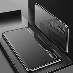 Silikon Schutzhülle Ultra Dünn Tasche Durchsichtig Transparent S05 für Huawei P20 Pro Schwarz