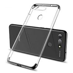Silikon Schutzhülle Ultra Dünn Tasche Durchsichtig Transparent S06 für Huawei Honor V20 Schwarz