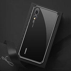 Silikon Schutzhülle Ultra Dünn Tasche Durchsichtig Transparent S07 für Huawei P20 Pro Schwarz