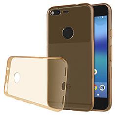 Silikon Schutzhülle Ultra Dünn Tasche Durchsichtig Transparent T02 für Google Pixel Gold