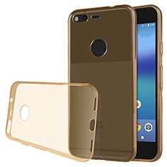 Silikon Schutzhülle Ultra Dünn Tasche Durchsichtig Transparent T02 für Google Pixel XL Gold