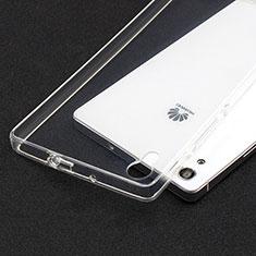 Silikon Schutzhülle Ultra Dünn Tasche Durchsichtig Transparent T02 für Huawei Ascend P7 Klar