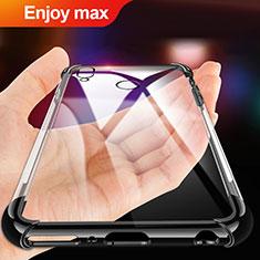 Silikon Schutzhülle Ultra Dünn Tasche Durchsichtig Transparent T02 für Huawei Enjoy Max Schwarz
