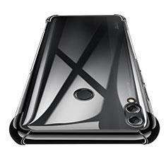 Silikon Schutzhülle Ultra Dünn Tasche Durchsichtig Transparent T02 für Huawei Honor 8X Max Schwarz