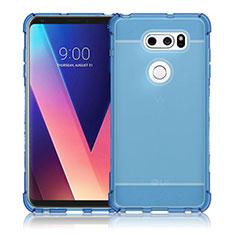 Silikon Schutzhülle Ultra Dünn Tasche Durchsichtig Transparent T02 für LG V30 Blau