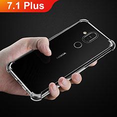 Silikon Schutzhülle Ultra Dünn Tasche Durchsichtig Transparent T02 für Nokia 7.1 Plus Klar