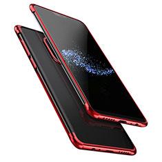 Silikon Schutzhülle Ultra Dünn Tasche Durchsichtig Transparent T02 für OnePlus 6 Rot