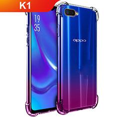 Silikon Schutzhülle Ultra Dünn Tasche Durchsichtig Transparent T02 für Oppo K1 Klar
