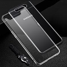 Silikon Schutzhülle Ultra Dünn Tasche Durchsichtig Transparent T02 für Samsung Galaxy A80 Klar