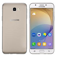 Silikon Schutzhülle Ultra Dünn Tasche Durchsichtig Transparent T02 für Samsung Galaxy J7 Prime Grau