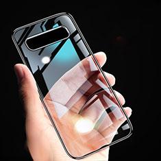 Silikon Schutzhülle Ultra Dünn Tasche Durchsichtig Transparent T02 für Samsung Galaxy S10 Schwarz