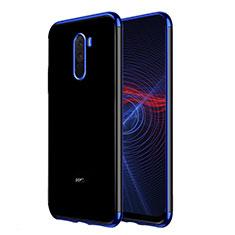 Silikon Schutzhülle Ultra Dünn Tasche Durchsichtig Transparent T02 für Xiaomi Pocophone F1 Blau