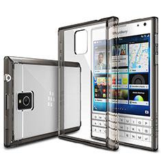 Silikon Schutzhülle Ultra Dünn Tasche Durchsichtig Transparent T03 für Blackberry Passport Q30 Grau