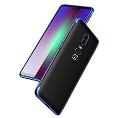 Silikon Schutzhülle Ultra Dünn Tasche Durchsichtig Transparent T03 für OnePlus 6 Blau