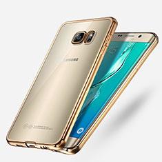 Silikon Schutzhülle Ultra Dünn Tasche Durchsichtig Transparent T03 für Samsung Galaxy S6 Edge+ Plus SM-G928F Gold