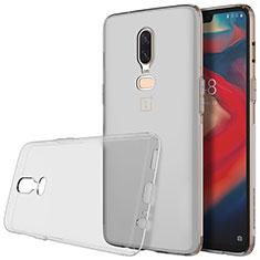 Silikon Schutzhülle Ultra Dünn Tasche Durchsichtig Transparent T04 für OnePlus 6 Grau
