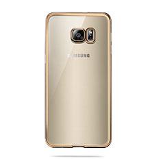 Silikon Schutzhülle Ultra Dünn Tasche Durchsichtig Transparent T04 für Samsung Galaxy S6 SM-G920 Gold