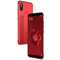 Silikon Schutzhülle Ultra Dünn Tasche Durchsichtig Transparent T04 für Xiaomi Mi A2 Rot