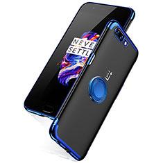 Silikon Schutzhülle Ultra Dünn Tasche Durchsichtig Transparent T05 für OnePlus 5 Blau
