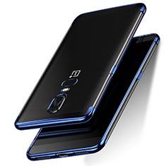 Silikon Schutzhülle Ultra Dünn Tasche Durchsichtig Transparent T05 für OnePlus 6 Blau