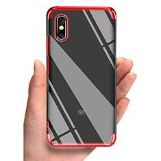 Silikon Schutzhülle Ultra Dünn Tasche Durchsichtig Transparent T05 für Xiaomi Mi 8 Screen Fingerprint Edition Rot