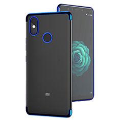Silikon Schutzhülle Ultra Dünn Tasche Durchsichtig Transparent T05 für Xiaomi Mi A2 Blau