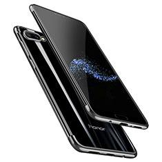 Silikon Schutzhülle Ultra Dünn Tasche Durchsichtig Transparent T06 für Huawei Honor 10 Schwarz