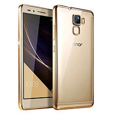 Silikon Schutzhülle Ultra Dünn Tasche Durchsichtig Transparent T06 für Huawei Honor 7 Dual SIM Gold