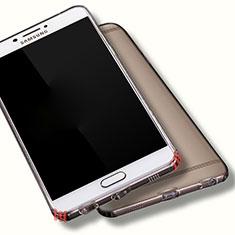 Silikon Schutzhülle Ultra Dünn Tasche Durchsichtig Transparent T06 für Samsung Galaxy C7 Pro C7010 Grau