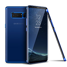 Silikon Schutzhülle Ultra Dünn Tasche Durchsichtig Transparent T06 für Samsung Galaxy Note 8 Duos N950F Blau