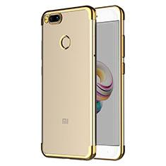 Silikon Schutzhülle Ultra Dünn Tasche Durchsichtig Transparent T06 für Xiaomi Mi A1 Gold