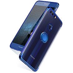 Silikon Schutzhülle Ultra Dünn Tasche Durchsichtig Transparent T07 für Huawei Honor 8 Blau