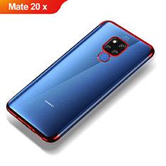Silikon Schutzhülle Ultra Dünn Tasche Durchsichtig Transparent T07 für Huawei Mate 20 X 5G Rot