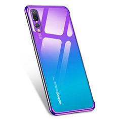 Silikon Schutzhülle Ultra Dünn Tasche Durchsichtig Transparent T07 für Huawei P20 Pro Violett