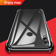 Silikon Schutzhülle Ultra Dünn Tasche Durchsichtig Transparent T08 für Huawei Enjoy Max Schwarz