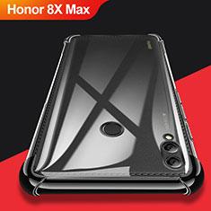 Silikon Schutzhülle Ultra Dünn Tasche Durchsichtig Transparent T08 für Huawei Honor 8X Max Schwarz
