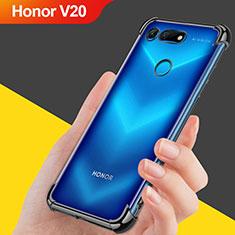 Silikon Schutzhülle Ultra Dünn Tasche Durchsichtig Transparent T08 für Huawei Honor V20 Schwarz