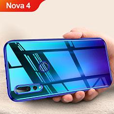 Silikon Schutzhülle Ultra Dünn Tasche Durchsichtig Transparent T11 für Huawei Nova 4 Blau
