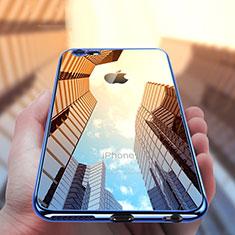Silikon Schutzhülle Ultra Dünn Tasche Durchsichtig Transparent T12 für Apple iPhone 6S Plus Blau